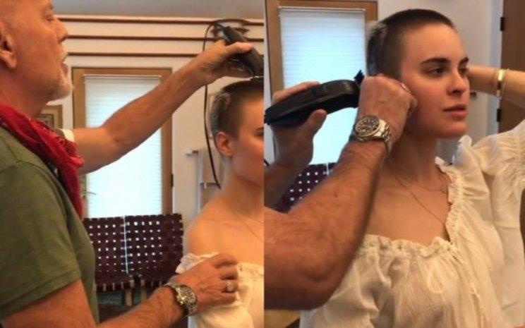 Брюс Уиллис сбрил волосы дочери